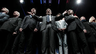Senior UMP figures, including former French president and current UMP president, Nicolas Sarkozy, sing the French national anthem, at the end of a political meeting, on April 22, 2015 in Nice, southeastern France.