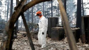 Un miembro del equipo de voluntarios de búsqueda y rescate trabaja en el condado Calaveras, destruido por el Camp Fire. 13 de noviembre de 2018.