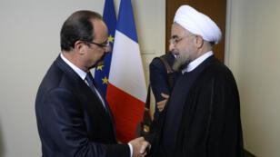 Le président français François Hollande et son homologue iranien Hassan Rohani, en septembre 2013 aux Nations Unies à New York