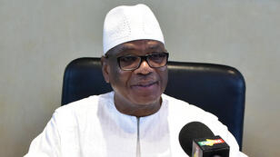 Le préisent malien Ibrahim Boubacar Keïta lors d'un meeting à Abidjan, le 11 mai 2018.