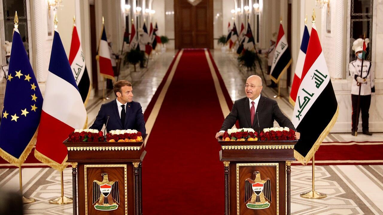 كلمة الرئيس العراقي برهم صالح خلال مؤتمر صحفي مع الرئيس الفرنسي إيمانويل ماكرون في بغداد. 2 سبتمبر/أيلول 2020.