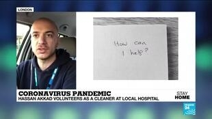 2020-04-23 08:05 Coronavirus pandemic: Syrian Filmmaker who fled civil war volunteers as a cleaner at local hospital