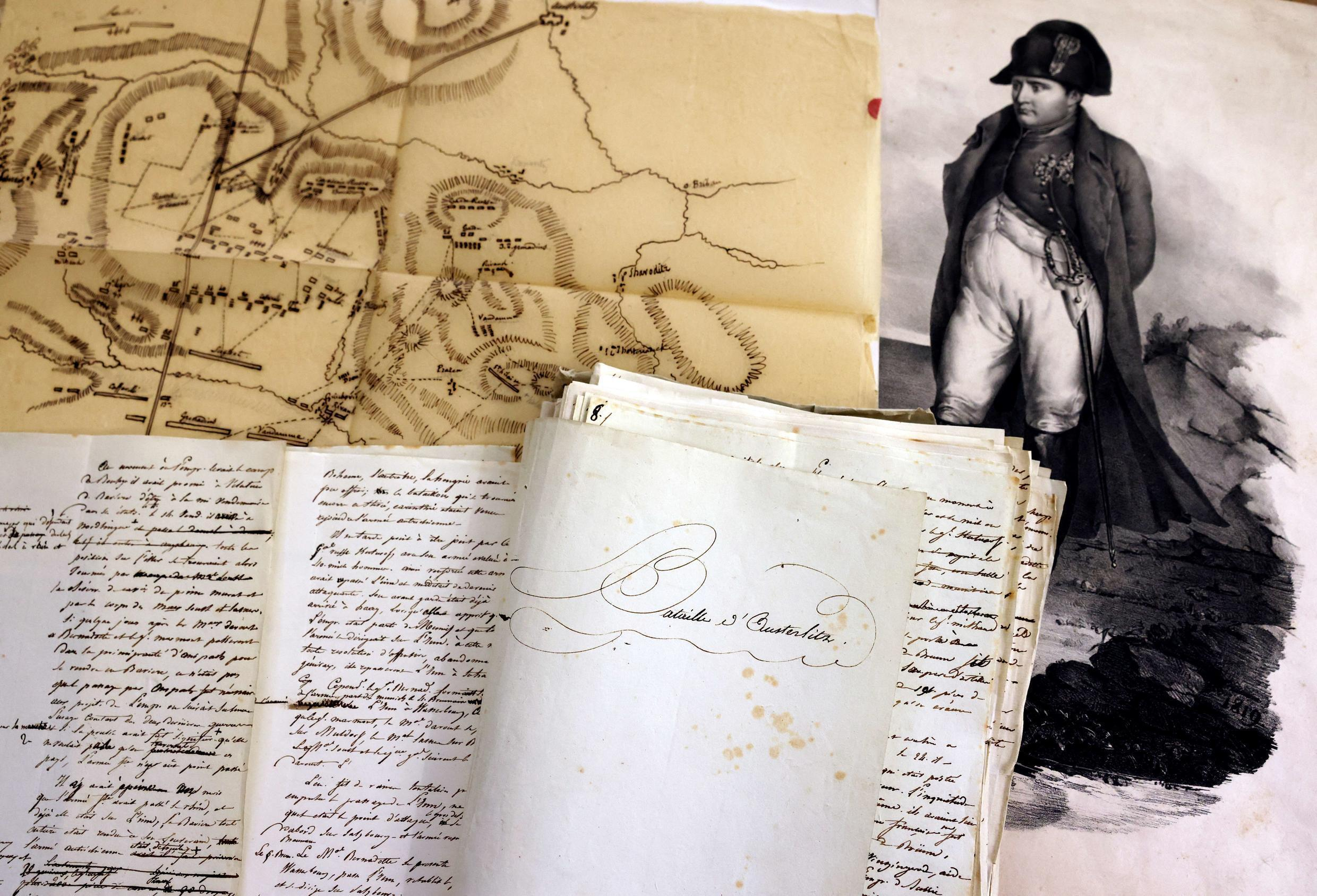 In this photo taken on January 25, 2021, Napoleon Bonaparte's account of his victory at the Battle of Austerlitz and a map of the battle.