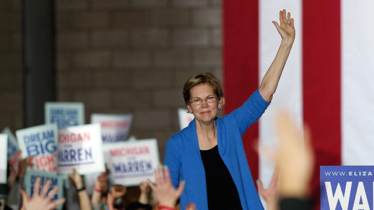 Elizabeth Warren in Detroit, Michigan on March 3, 2020.
