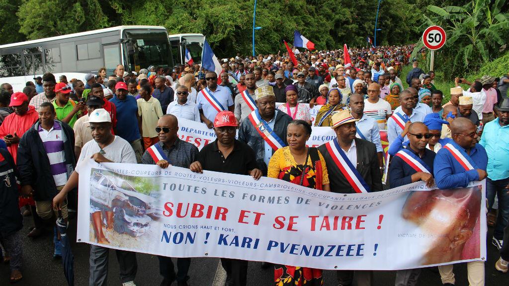 Manifestation à l'appel de l'intersyndicale dans le chef-lieu Mamoudzou, à Mayotte, le 7 mars 2018.