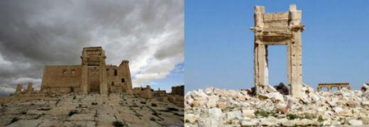 C'était l'un de sites majeures de la vieille ville. Il a été détruit à la dynamite par les jihadistes de l'EI, en août 2015. (À gauche, le temple de Bel en mars 2014, à droite, le même temple, en mars 2016).