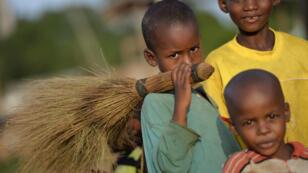 Enfants dans le village de Boda, en Centrafrique, le 6 avril 2014