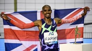 Mo Farah celebrates his world record in the men's one hour event at the Diamond League event in Brussels