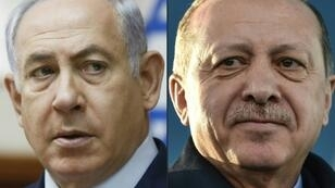 The Israeli Prime Minister Benjamin Netanyahu (L) and Turkish President Recep Tayyip Erdogan have regularly clashed in public forums