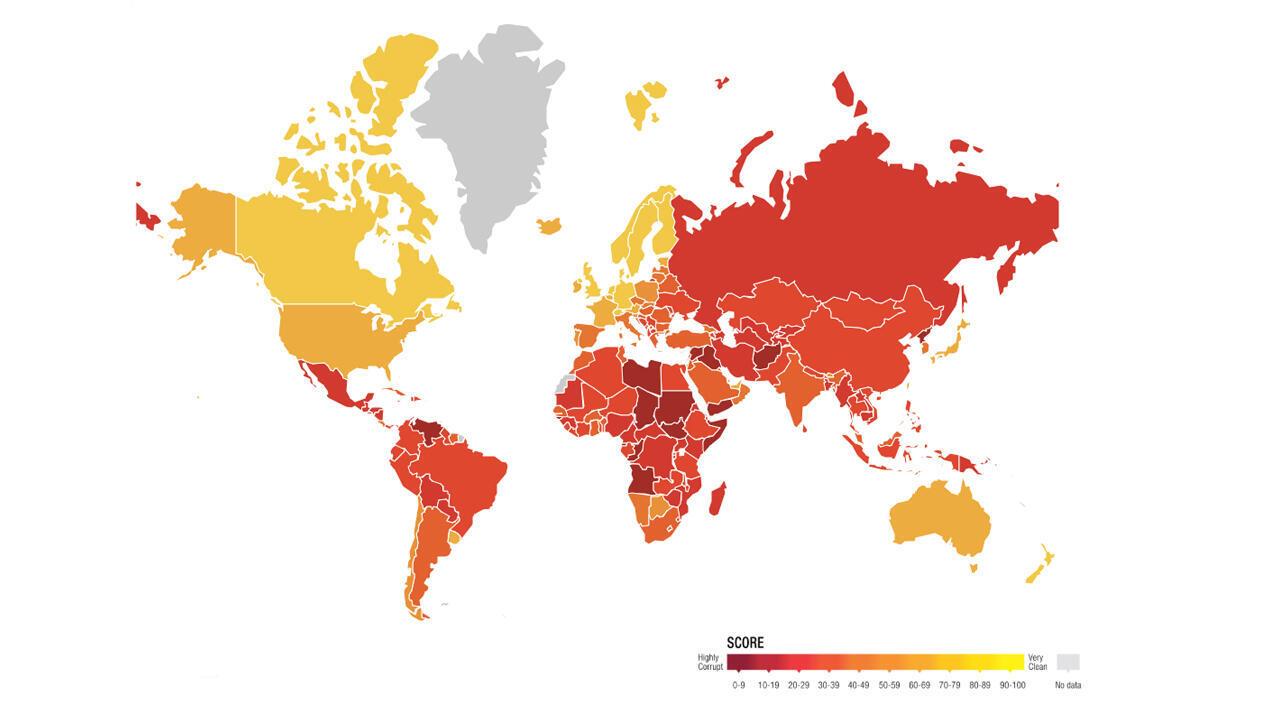 Mapa del índice de corrupción de Transparencia Internacional