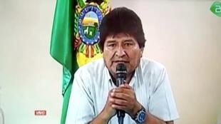 El presidente de Bolivia, Evo Morales, anuncia su renuncia en Lauca Ñ, Cochabamba, Bolivia, 10 de noviembre de 2019.