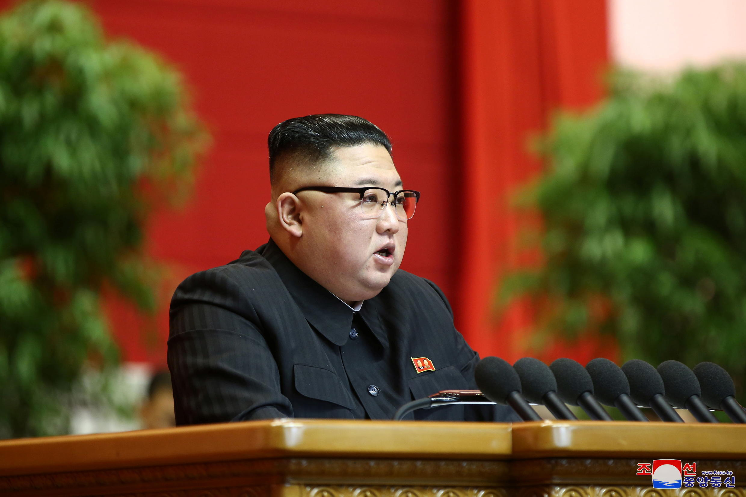 North Korean leader Kim Jong Un speaks during the 8th Congress of the Workers' Party in Pyongyang, North Korea, in this photo supplied by North Korea's Central News Agency (KCNA) on January 13, 2021.