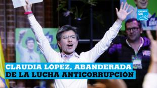 La candidata a la Alcaldía de Bogotá por la Alianza Verde, Claudia López, celebra su triunfo en las elecciones regionales este domingo 27 de octubre, en Bogotá, Colombia.
