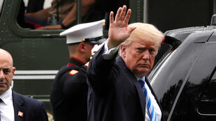 El presidente de EE. UU., Donald Trump, llega al Centro Médico Militar Nacional Walter Reed, en Bethesda, Maryland, EE. UU., el 16 de mayo de 2018.