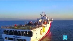 This handout photograph shows Turkish seismic research vessel Oruc Reis in the Mediterranean Sea, August 12, 2020.