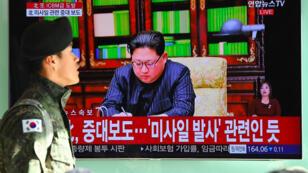 Kin Jung-Un a pris la parole à la télévision nord-coréenne le 29 novembre 2017 pour annoncer que le tir de missile avait été réalisé avec succès.