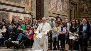 Pope Francis met Roma and Sinti families in Sala Regia in the Vatican