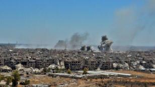 Les bombardements du camp de Yarmouk sous les bombardements, le 24 avril 2018.