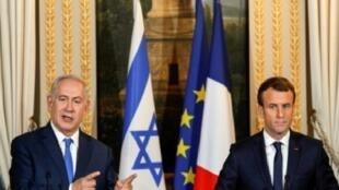 الرئيس الفرنسي ورئيس الوزراء الإسرائيلي في مؤتمر صحفي بالإليزيه في 12 كانون الأول/ديسمبر 2017