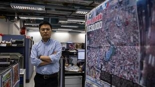 Apple Daily editor-in-chief Ryan Law in the paper's newsroom in Hong Kong last month