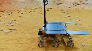 Un prototype du robot mobile européen d'Exomars, Rosalind Franklin, le 7 février 2019 à Stevenage, au nord de Londres
