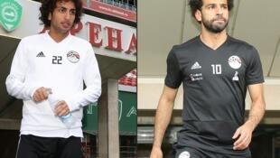 Accusé d'harcèlement sexuel, Amr Warda(à gauche) a reçu le soutien public de son coéquiper Mohamed Salah.