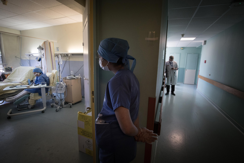 A nurse from the Covid-19 unit at the Lariboisière hospital in Paris, France, April 27, 2020.