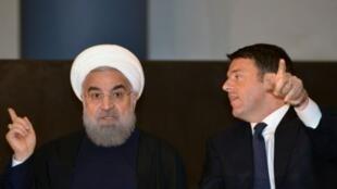 روحاني مع رئيس الوزراء الإيطالي ماتيو رينزي في روما 25 كانون الثاني/يناير 2016