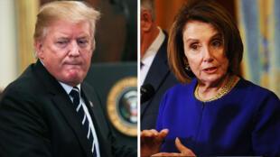 El presidente de EE. UU., Donald Trump y la líder demócrata Nancy Pelosi, este 22 de mayo de 2019 en Washington, EE.UU.