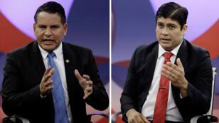 A la izquierda el candidato presidencial, Fabricio Alvarado Muñoz, un cristiano evangélico del Partido de Restauración Nacional (PRN). A la derecha, Carlos Alvarado Quesada, candidato presidencial del gobernante Partido de Acción Ciudadana (PAC). Imágenes tomadas durante un debate, antes de la segunda ronda de las elecciones presidenciales en San José, Costa Rica, el 25 de marzo de 2018.