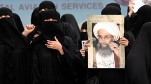 Des Saoudiennes chiites manifestent à Qatif, dans l'est du pays, le 2 janvier 2016, à la suite de l'exécution du dignitaire chiite, Nimr al-Nimr.