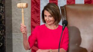L'élue de Californie Nancy Pelosi, jeudi 3 janvier 2019, à la Chambre des représentants des États-Unis.
