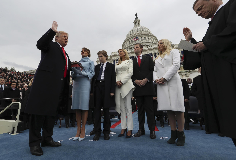 President Donald Trump is sworn in in Washington, January 20, 2017.
