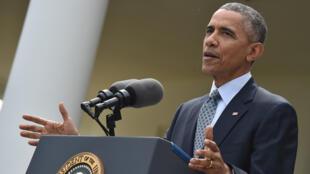 Le président Barack Obama a salué la signature de l'acccord d'étape sur le nucléaire iranien, le 2 avril 2015.