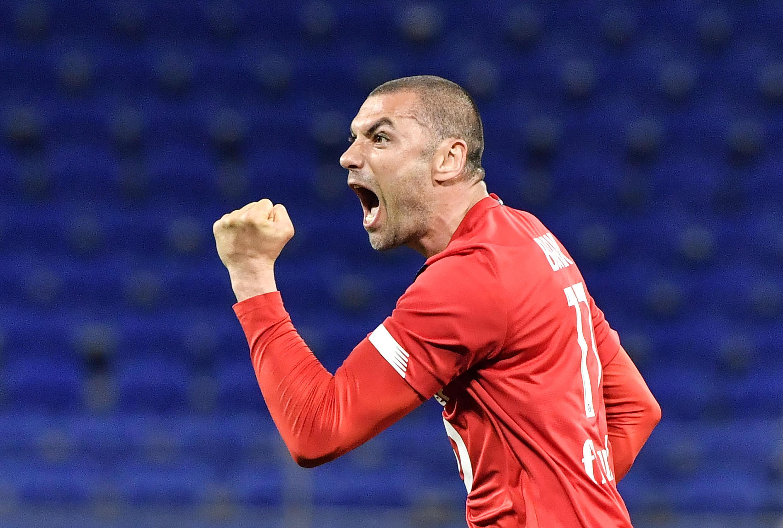 L'attaquant turc de Lille, Burak Yilmaz, auteur d'un doublé lors du match de Ligue 1 sur la pelouse de Lyon, le 25 avril 2021