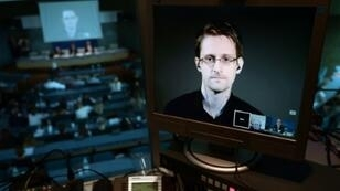 Edward Snowden au cours d'une visioconférence depuis la Russie, le 23 juin 2015.