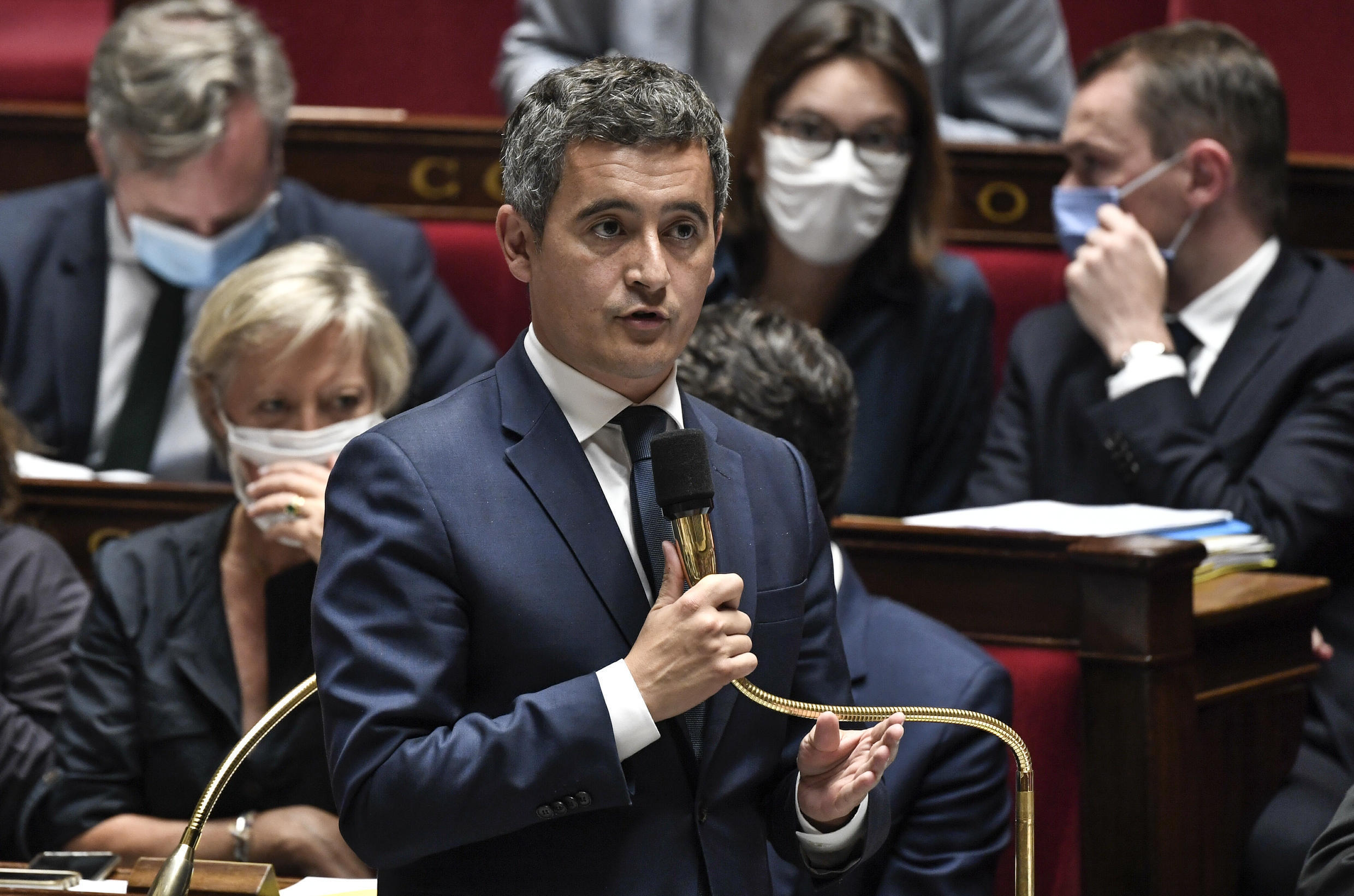 French Interior Minister Gerald Darmanin speaks during a session of Questions to the government, on July 28, 2020 at the National Assembly in Paris.