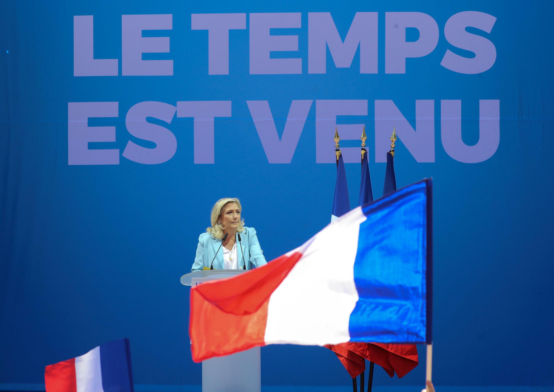 Marine Le Pen s'adresse aux militants du Rassemblement national le 12 septembre 2021 à Fréjus (Var)