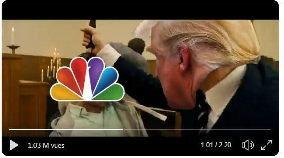 A brutal video clip depicting Donald Trump shooting and stabbing media characters and political opponents was shown at a conference for his supporters, the New York Times reported Sunday.
