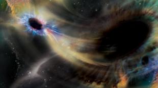 Représentation de la fusion de deux trous noirs