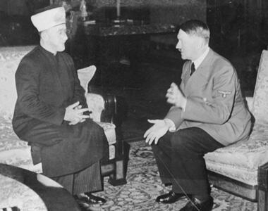Le Grand mufti de Jérusalem, Mohammed Amin al-Husseini et Adolf Hitler (Wikimedia creative commons).