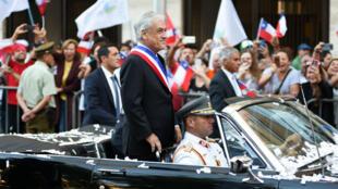El presidente de Chile, Sebastián Piñera, llega al Palacio de La Moneda en Santiago de Chile el 11 de marzo de 2018.