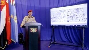 العميد يحيى سريع المتحدث العسكري باسم الحوثيين في اليمن. 18 سبتمبر/أيلول 2019.