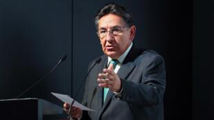 El entonces fiscal general de Colombia, Néstor Humberto Martínez, durante una audiencia pública de rendición de cuentas en Bogotá el 5 de diciembre de 2018.