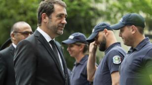 Christophe Castaner saluant le travail des policiers, le 27 mai 2019, à Lyon.