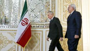 وزيرا الخارجية الإيراني محمد جواد ظريف والفرنسي جان مارك إيرولت في العاصمة طهران