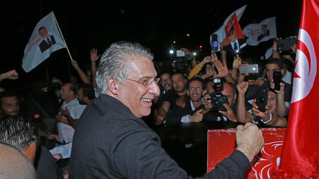 Nabil Karoui à sa sortie de prison, le 9 octobre 2019.