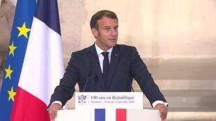 Le président Emmanuel Macron lors de la cérémonie organisée au Panthéon pour les 150 ans de la République, le 4 septembre 2020.