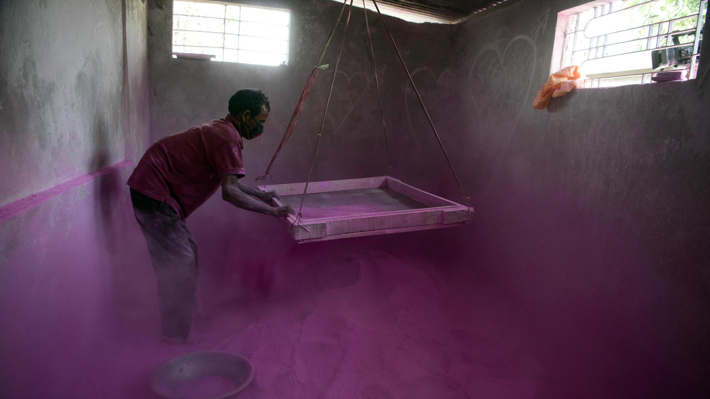 Un trabajador indio tamiza polvo de color fucsia, para ser utilizado durante el festival Holi de primavera, dentro de una fábrica en la aldea Fulbari, a las afueras de Siliguri, India, el 10 de marzo de 2019.
