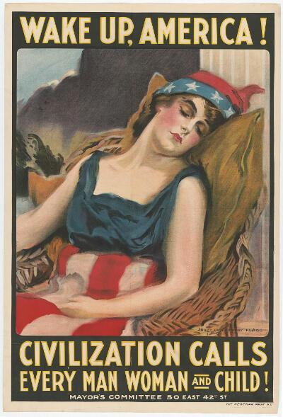 Cette affiche américaine a été diffusée 13 jours après l'entrée en guerre des États-Unis. Elle appelle le peuple américain à se réveiller et à se battre pour la civilisation.